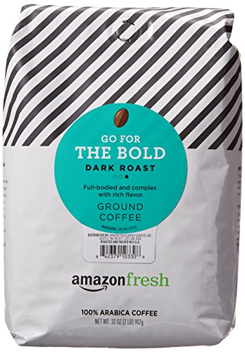 AmazonFresh Go For The Bold, 100% Arabica Coffee, Dark Roast, Ground, 32 Ounce