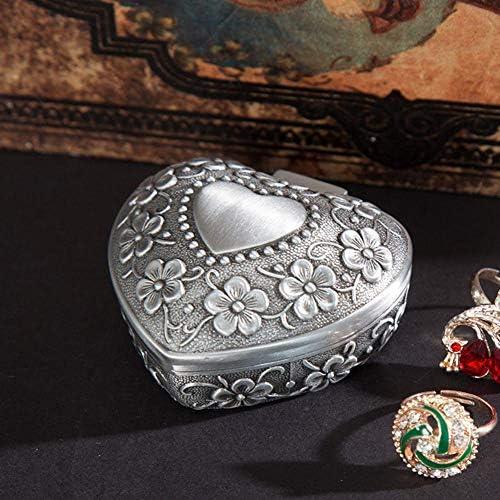 Brillie Herz Schmuckkästchen | Vintager Kreativer Zinklegierung Schmuckdose | Ring Kette Ohrringe Herzdose für Damen Mädchen - Antike Silber