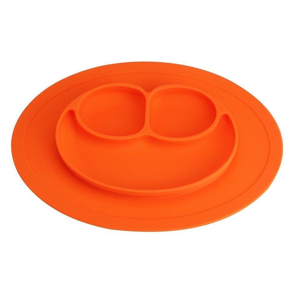 NiceButy Set De Bébé Assiette Vaisselle Nourrir Enfant Tapis En Silicone De Haute Qualité Pour Repas De Bébé Enfants - Orange