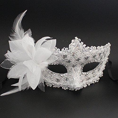 Damjic Halloween Leather Half Face Mask Lace Side Flower Makeup Mask Prom Mask N -