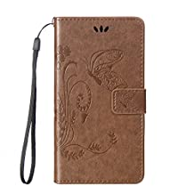 SZYT Phone Case for Samsung Galaxy S4 S IV SIV i9500, 5.0 inch, Imprint Butterfly with Handle Strap Light Brown