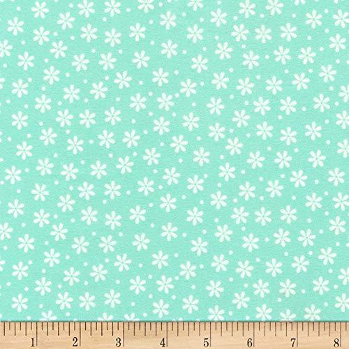 Flannel Daisies - Robert Kaufman Cozy Cotton Flannel Daisy Seafoam, Fabric by the Yard
