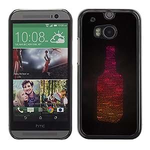 Qstar Arte & diseño plástico duro Fundas Cover Cubre Hard Case Cover para HTC One M8 ( Tipsy Sunlight Drunk Alcohol Part Bottle)