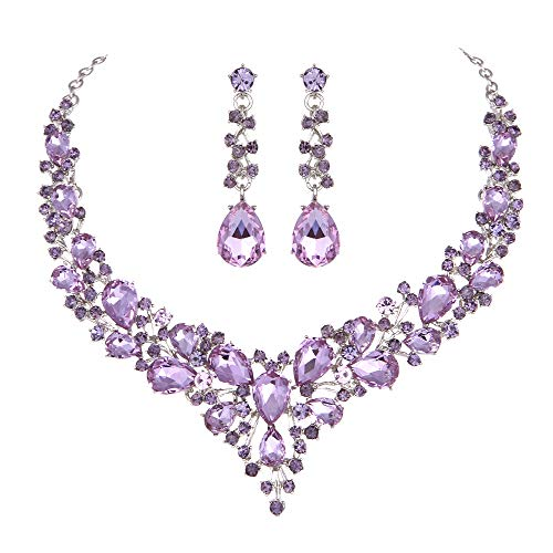 (Youfir Bridal Austrian Crystal Necklace and Earrings Jewelry Set Gifts fit with Wedding Dress (Amethyst) )