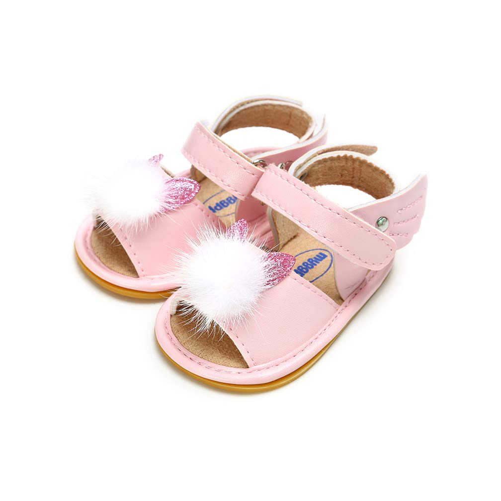 AUPUMI Baby Girls Summer Sandals Infant Girls Rubber Sole Outdoor Sandals First Walker Shoes Flat Sandals Princess Shoes