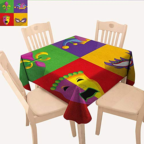 longbuyer Mardi Gras Square Tablecloth Colorful Frames with Mardi Gras Icons Masks Harlequin Hat and Fleur De Lis Print BBQ Tablecloth Multicolor W 54