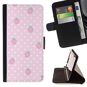 Momo Phone Case / Flip Funda de Cuero Case Cover - Polka Dot Rose - Samsung Galaxy J1 J100