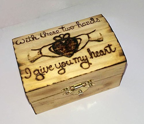 Personalized Rustic Claddagh Keepsake Wedding Ring Box Lucky Bee Designs