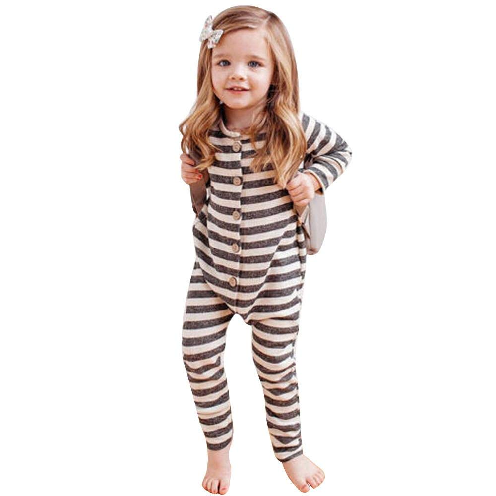Boys Girls Button Striped Unisex Long Sleeve Winter Clothes