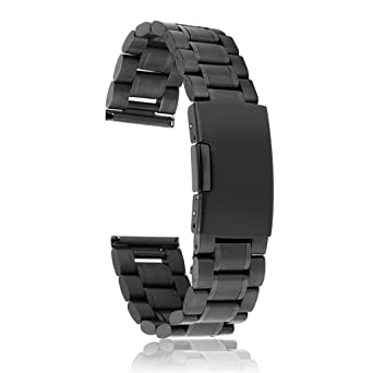 Correa de Reloj Hebilla Acero Inoxidable 24mm Color Negro: Amazon ...