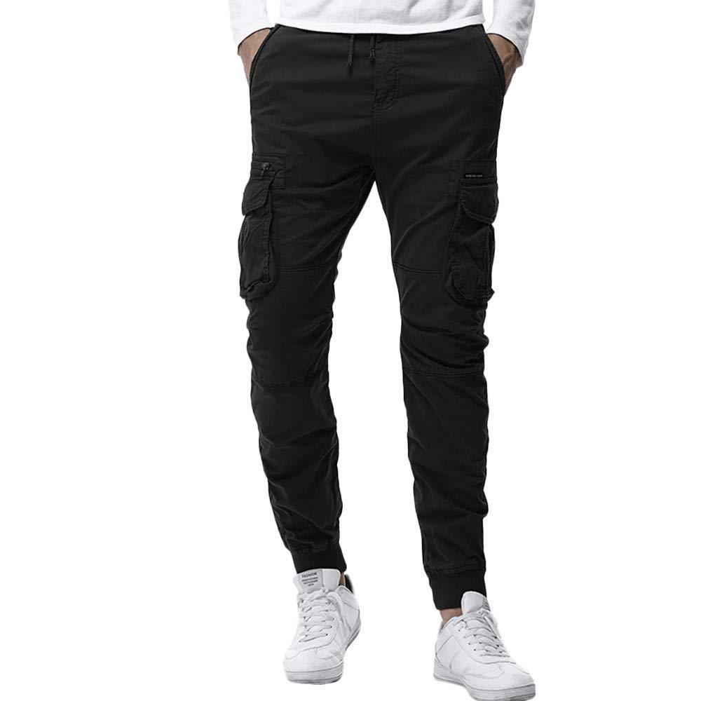 PASATO Clearace Sale! Mens Trousers Multi-Pocket Combat Zipper Cargo Waist Work Casual Pants(Black, L)
