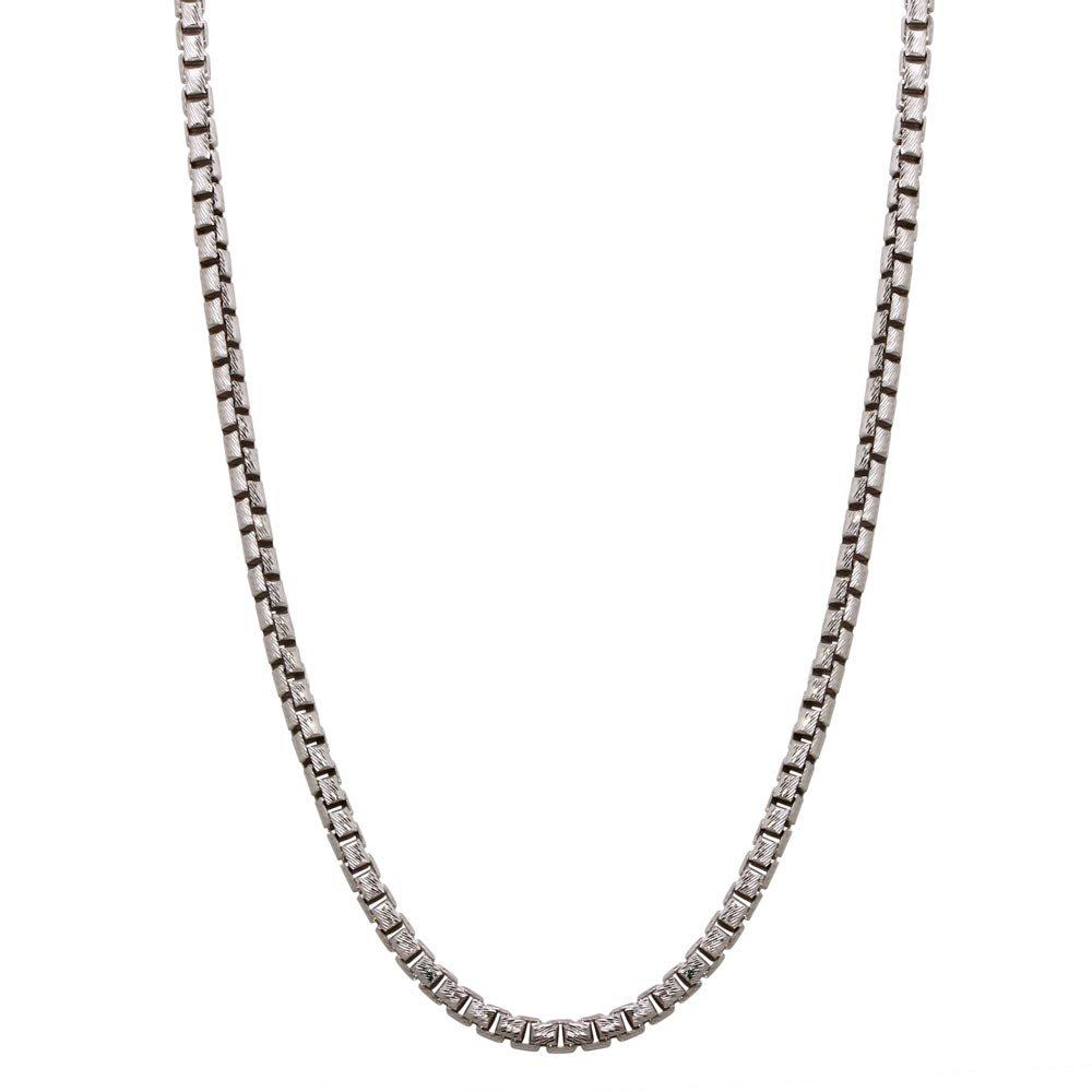 Princess Kylie Rhodium Plated Sterling Silver DC Slash Round Box Chains 3.1mm