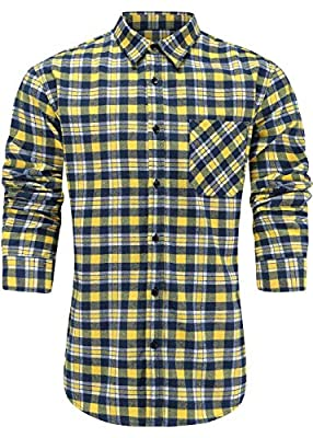 Emiqude Men's Slim Fit Casual Flannel Cotton Long Sleeve Plaid Button Up Dress Shirt
