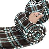 SmartHS Adult Sleeping Bag Liner Lightweight Compact Zippered Soft Warm Fleece Travel Blanket Camping Sleep Sack (Plaid)