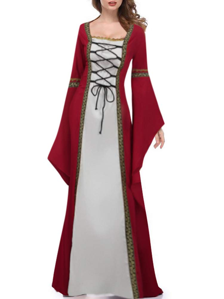 Leepus Women Vintage Gothic Medieval Long Sleeves Plus Size Cosplay Costume Halloween Long Dress Burgundy by Leepus