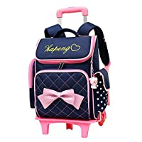 Adanina Cute Print Bowknot Trolley Backpack Elementary Middle School Rolling Bag Wheeled Waterproof BookBag with Little Cuty Doll for Kids Girls