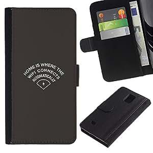 Protector de cuero de la PU de la cubierta del estilo de la carpeta del tirón BY RAYDREAMMM - Samsung Galaxy Note 4 IV - Wifi Inicio