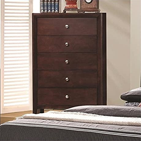 Bowery Hill 5 Drawer Chest In Rich Merlot