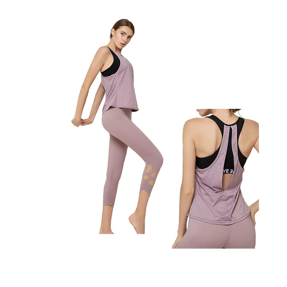 weishenghulian Yoga Kleidung Sport Fitness Yoga Wear Damen Sportbekleidung/Weste Oberteile Und Strumpfhosen Stretch Yoga Workout Set,Geeignet FüR Yoga Und KöRperliche Bewegung