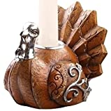 """3"""" Harvest Earthy Thanksgiving Turkey Taper Candle Holder"""