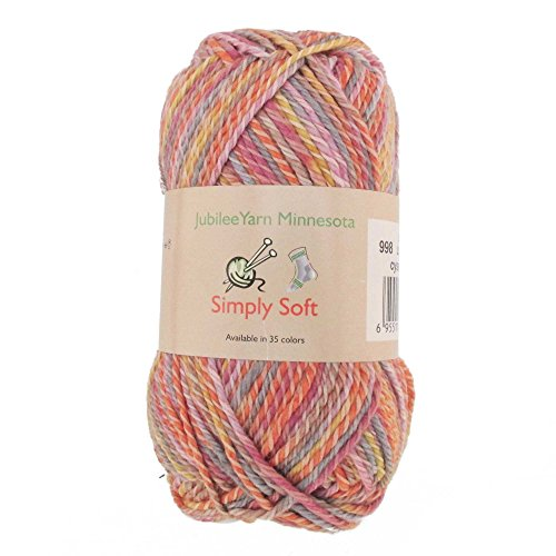 - Light Weight Simply Soft Yarn 100g - 2 Skeins - 50% Cotton 50% Polyestser - Sunset - Color 998