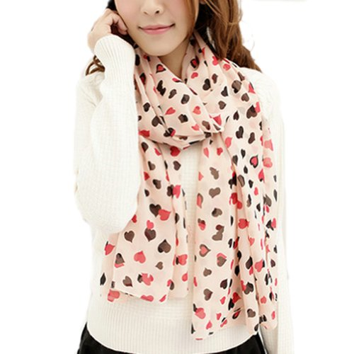 Zehui Women Sweet Heart Printed Stole Soft Scarve Chiffon Scarf Wraps Shawl Pink