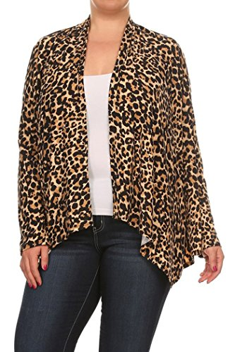 Womens Plus Size Print, Loose Fitting Style Cardigan MADE IN USA (2X, Brown/Animal)