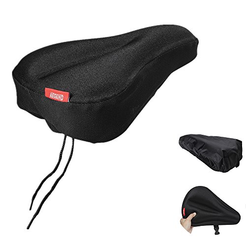 Aegend Bike Gel Seat Cushion Cover Bicycle Saddle Pad Comfortable Soft Bicycle Seat Bike Saddle Cushion for Women Men for Outdoor Cycling with Water&Dust Resistant Cover