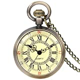 JewelryWe Retro Pocket Watch Vintage Roman Numerals Dial Quartz Transparent Glass Lid Pocket Watch Classic Necklace Pendant