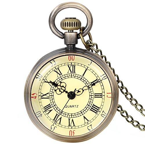 JewelryWe Retro Pocket Watch Vintage Roman Numerals Dial Quartz Transparent Glass Lid Pocket Watch Classic Necklace Pendant from JewelryWe