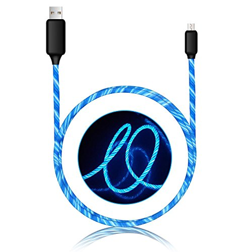 Micro USB cable,Visible Flowing of LED Charging cable Lighting Cable Durable Charging cords for Android Samsung LG HTC Nokia Sony Windows Xbox and More (blue) by OM Cables