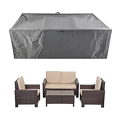 "Patio Furniture Set Covers Waterproof Outdoor Table Covers Sectional Conversation Loveseat Sofa Set Covers Waterproof Durable Heavy Duty  88"" L x 58"" W x 28"" H - SIZE: 88"" L x 58"" W x 28"" H.Universal design to fits patio 4pcs rattan wicker sofa set and rectangular table and chairs sets. WATER and UV RESISTANT: Heavy-duty polyester fabric with waterproof PVC coating, protect your furniture from rain, snow and other precipitation. DURABLE: made from durable oxford fabric, heavy duty, long time to use. - patio-furniture, patio, conversation-sets - 518Ij1WfthL. SS400  -"