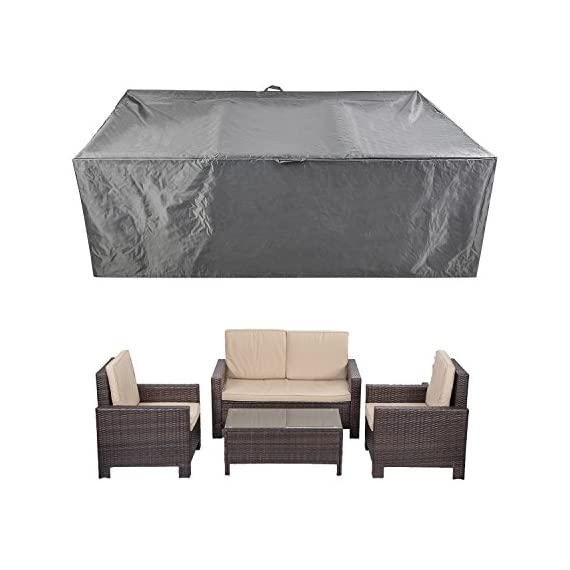 """Patio Furniture Set Covers Waterproof Outdoor Table Covers Sectional Conversation Loveseat Sofa Set Covers Waterproof Durable Heavy Duty  88"""" L x 58"""" W x 28"""" H - SIZE: 88"""" L x 58"""" W x 28"""" H.Universal design to fits patio 4pcs rattan wicker sofa set and rectangular table and chairs sets. WATER and UV RESISTANT: Heavy-duty polyester fabric with waterproof PVC coating, protect your furniture from rain, snow and other precipitation. DURABLE: made from durable oxford fabric, heavy duty, long time to use. - patio-furniture, patio, conversation-sets - 518Ij1WfthL. SS570  -"""