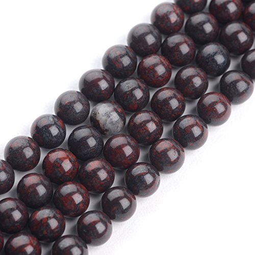 iSTONE African Blood Stone Gemstone Loose Beads Natural Round 8mm Crystal Energy Stone Healing Power for Jewelry Making
