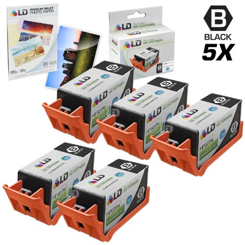 LD © Remanufactured Replacement for HP 920XL / 920 (CD975AN) Black Ink Cartridges 5PK for OfficeJet 6000, 6500, 7000 & 7500a + FREE 4X6 Photo Paper