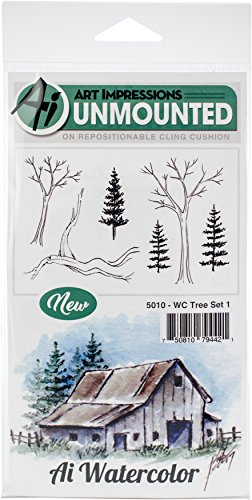 Art Impressions 5010 Watercolor Cling Rubber Stamps Tree, Multicolor by Art Impressions