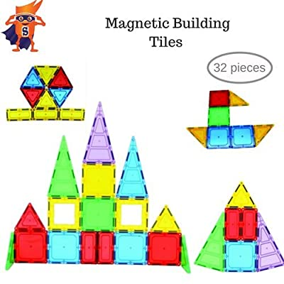 32 pcs Magnetic Tiles Clear Colors Set-Magnetic Building Tiles for Kids, Creativity and Educational Building Toys for Children: Toys & Games