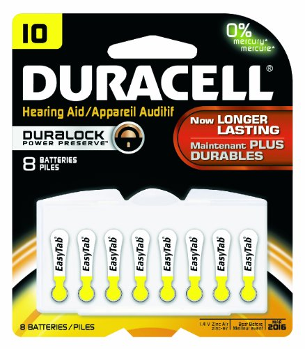 Duracell DA10B8ZM10 Easy Tab Hearing Aid Zinc Air Battery Pack, 10 Size, 1.4V, 95 mAh Capacity (Pack of 6) 4 Duracell Easy Tab