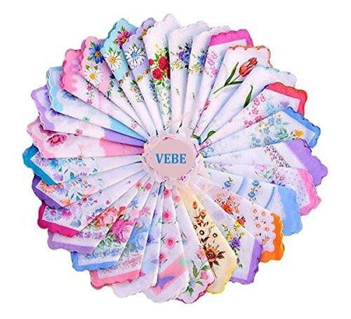 VEBE Womens/Girls Vintage Floral Wedding Party Cotton Handkerchiefs (30 Pieces)