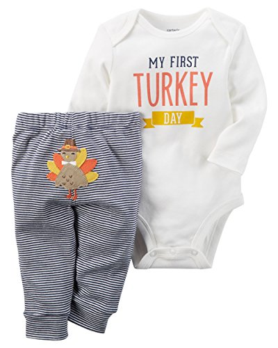 Carter's Baby My First Turkey 2-Piece Bodysuit Pants Set (Newborn Girl Thanksgiving Outfit)