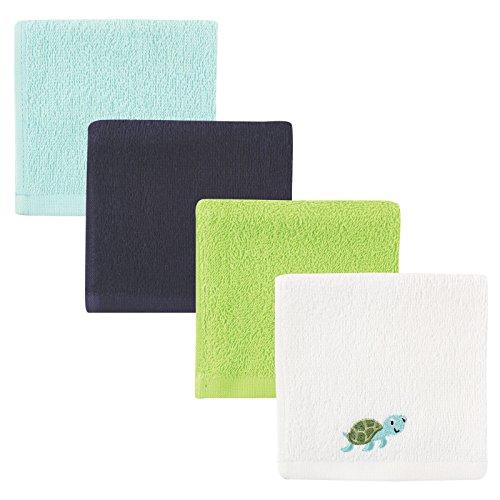 Luvable Friends Super-Soft Washcloths, Blue Turtle, 4 Count