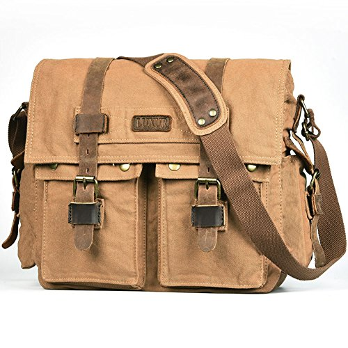 Khaki Messenger Bags (LUXUR 16 Inch Messenger Bag Shoulder Laptop Bags Military Satchel Vintage Canvas Travel Bag Bookbag)
