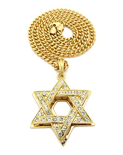 Rhinestone Star of David Pendant 5mm Cuban Link Chain Necklace, Gold-Tone, 24
