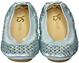 Yosi Samra Girls Sammie Iridescent Crinkle Slip On Ballet Flat (Toddler), Alaskan Blue, 9 M US Toddler