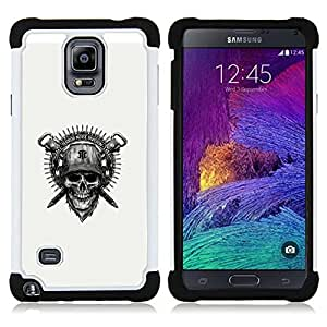 BullDog Case - FOR/Samsung Galaxy Note 4 SM-N910 N910 / - / Cool Badass Military Skull & Helmet /- H??brido Heavy Duty caja del tel??fono protector din??mico - silicona suave