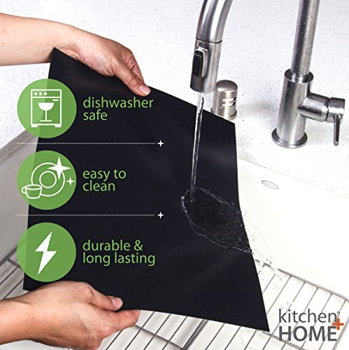 Kitchen + Home Oven Liner Set of 2 – Large Heavy Duty 100% PFOA & BPA Free – FDA Approved Non-stick Reusable Oven Liner for Gas, Electric & Microwave Ovens – Works as Baking Mat & Grill Mat by Kitchen + Home (Image #4)