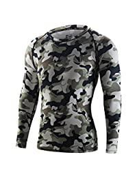 Dofover Men's Camo Cycling Jersey Compression Tight Shirt Bike Bicycle Polyester Underwear Sports Wear Clothing M-2XL