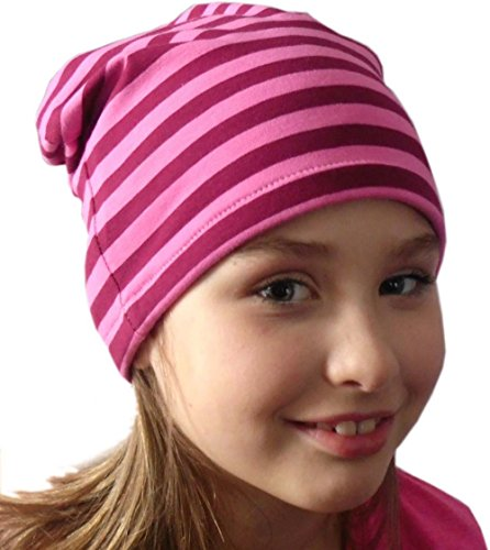 Beanie gorro rayas/EN 7Tamaños Designs/Niños y Adultos brombeer-pink