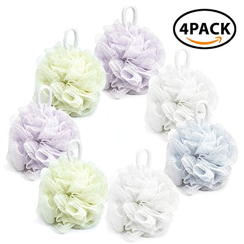 Bath Shower Sponge Loofahs (60g/pcs4) Mesh Pouf Shower Ball, Mesh Bath and Shower Sponge Pack