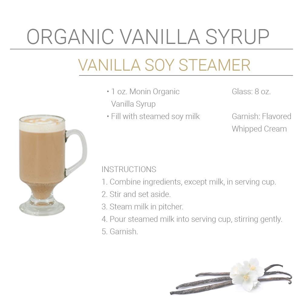 Monin - Organic Vanilla Syrup, Naturally Smooth Sweetness, Great for Coffee, Shakes, and Cocktails, Gluten-Free, Vegan, Non-GMO (750 ml)